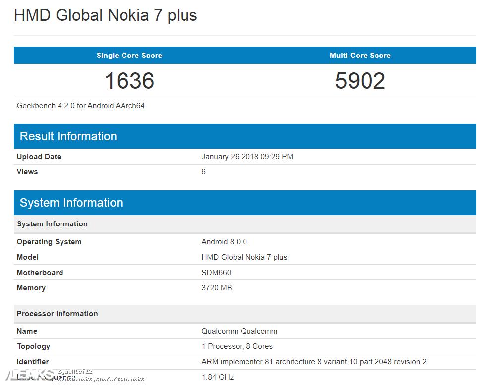 Nokia 7 Plus Geekbench