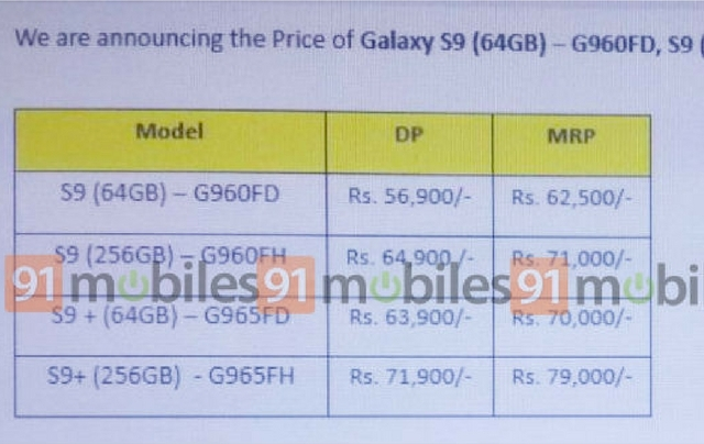 Samsung Galaxy S9 price leaked