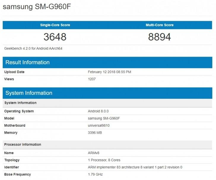 Samsung Galaxy S9 Geekbench listing