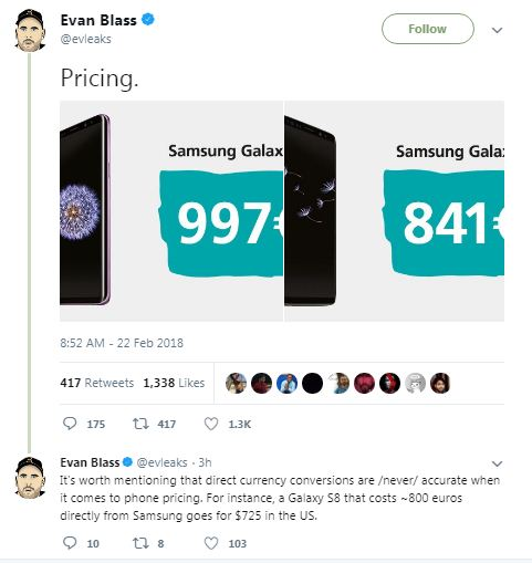 Price of Galaxy S9 and S9+ leaked