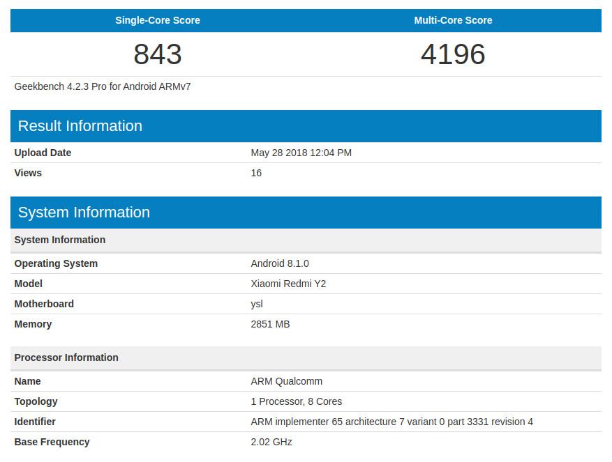 Xiaomi Redmi Y2 leaked at Geekbench