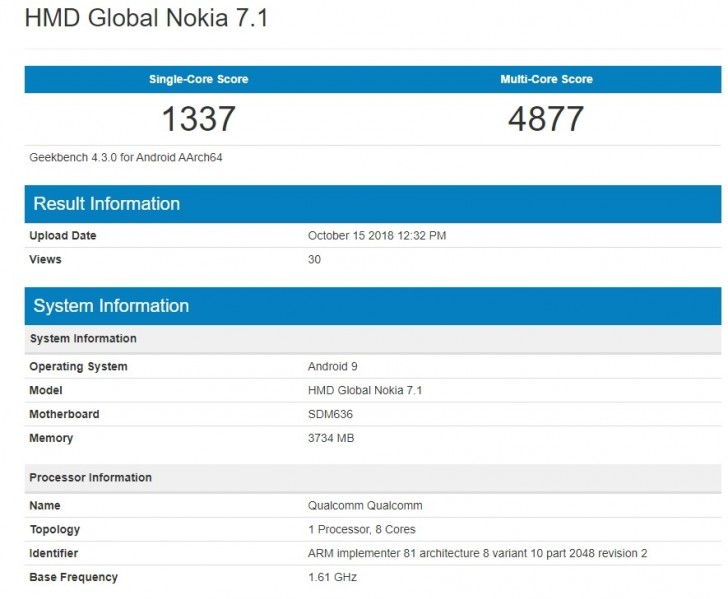 Nokia 7.1 reveals at Geekbench