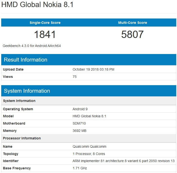 Nokia 8.1 spotted at Geekbench