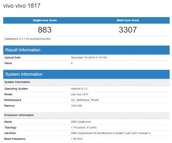 vivo 1817 spotted at Geekbench