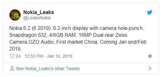 Nokia 6.2 (2019) tweet leaks
