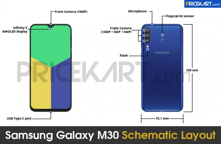 Samsung Galaxy M30 Schematic diagram leaks