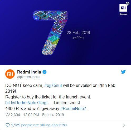 Xiaomi Redmi Note 7 teaser reveals