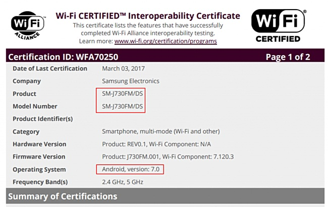 Samsung Galaxy J7 (2017) received WiFi certification