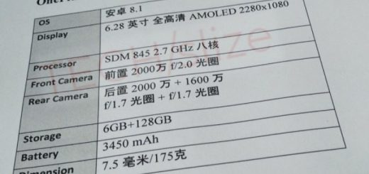 OnePlus A6 specs sheet leaked