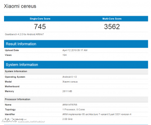 Xiaomi Cereus spotted on GeekBench