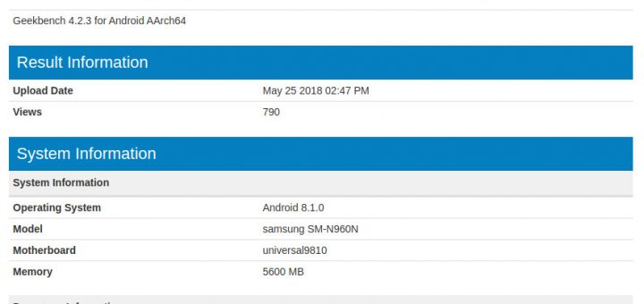 Samsung Galaxy Note 9 Geekbench leaked specs