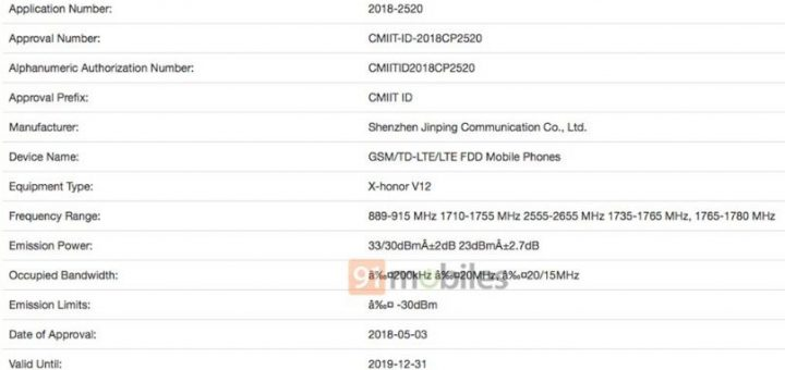 Huawei Honor V12 spotted on TENAA