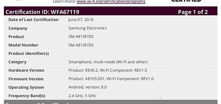 Samsung Galaxy A8 (2016) Wi Fi certified