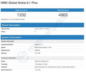 Nokia 6.1 Plus on Geekbench lisiting