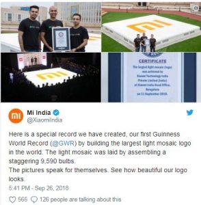 Xiaomi India set Guiness record