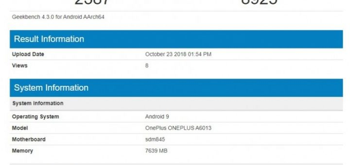OnePlus 6T spotted at Geekbench