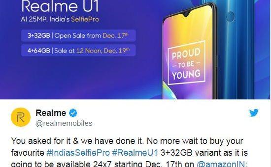 Realme U1 open sale willstart