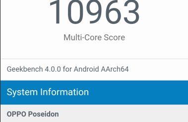 Oppo Poseidon revealed on Geekbench