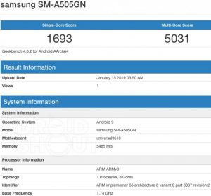 Samsung A50 at Geekbench