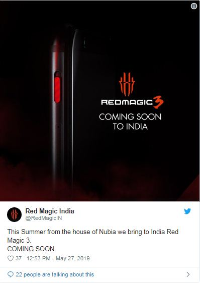 Nubia Red Magic 3 tweet posted