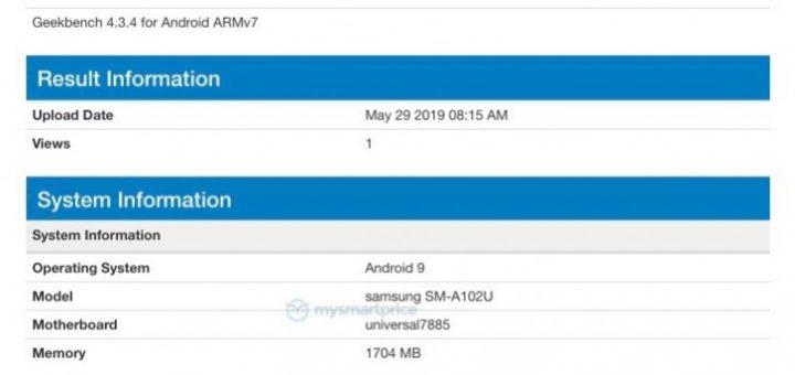 Samsung Galaxy A10e leaks at Geekbench