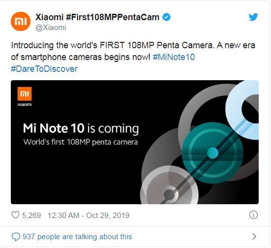 Xiaomi Mi Note 10 teaser leaks